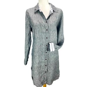 Soft Surroundings Linen Button Up Tunic Top Button